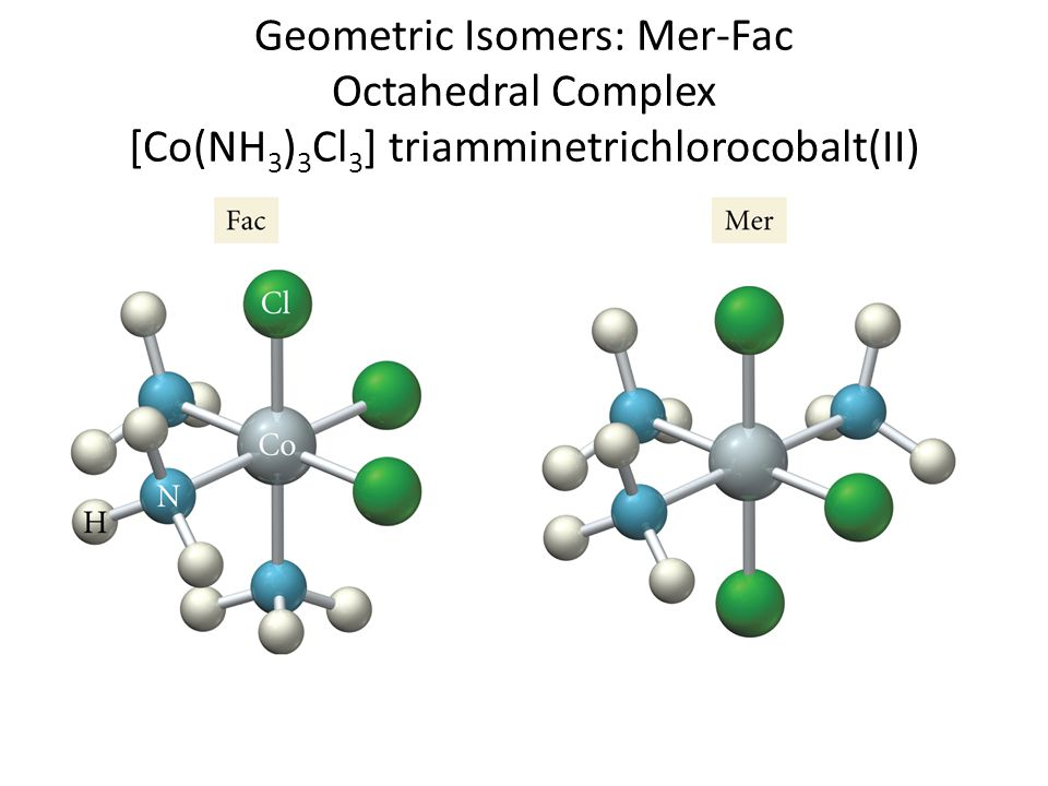 Geometric Isomers: Mer-Fac Octahedral Complex [Co(NH3)3Cl3] triamminetrichlorocobalt(II)